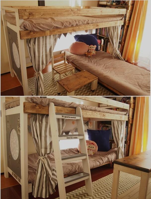 二段ベッドの下はソファーをリメイク