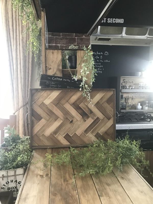 ヘリンボーン柄のカフェトレイ