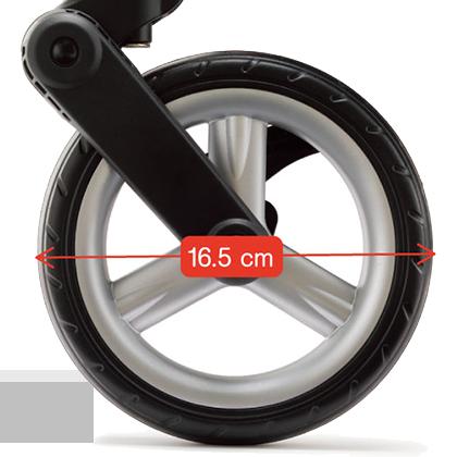 段差を乗り越えやすい、大径16.5cmのタイヤ