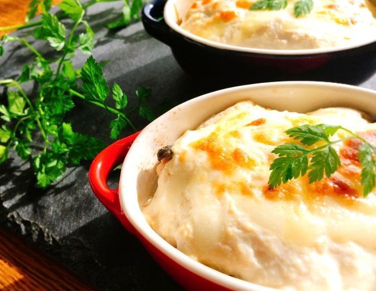 【レシピ】グルテンフリーの秋鮭と長ネギの和風グラタン