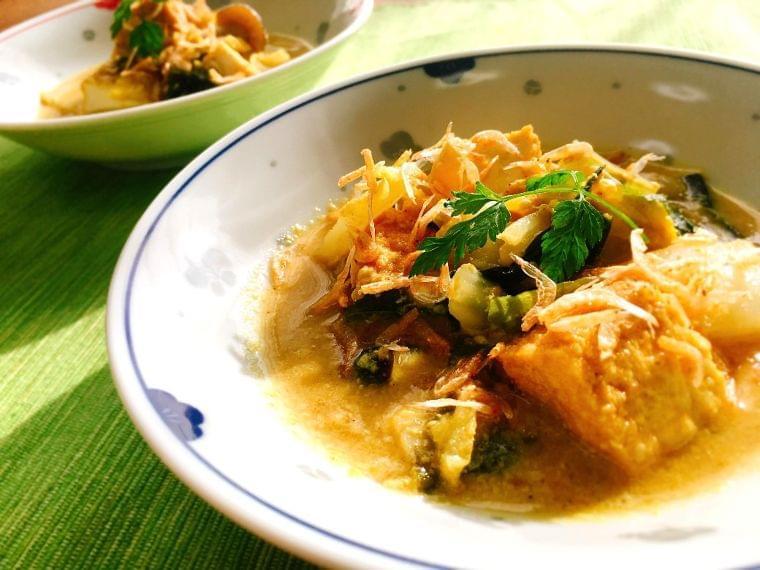 【レシピ】油不使用! 白菜とキノコと厚揚げの和風カレー