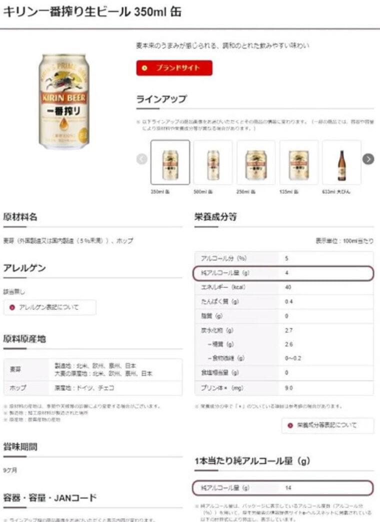 キリンHD、アルコール分量を「グラム」表示…摂取量の把握が簡単に : 経済 : ニュース : 読売新聞オンライン
