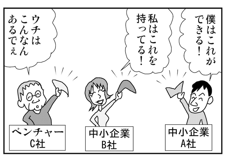 【連載/4コマ漫画コラム(18)】大企業との話し方 ② どの話かで話はちがう