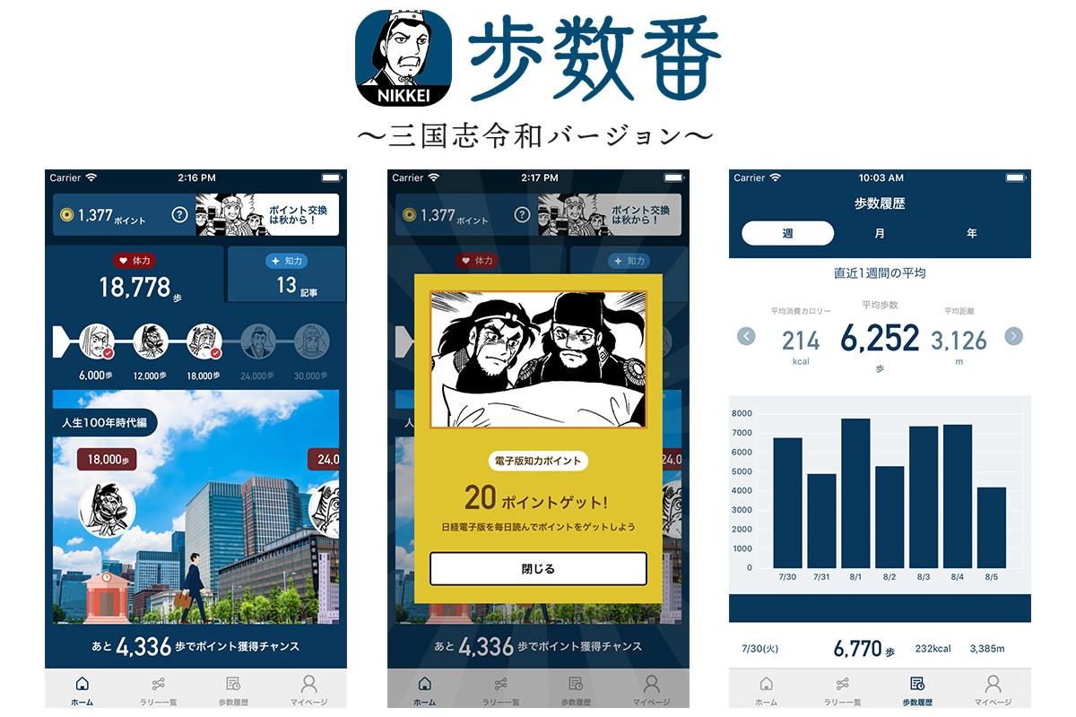 日本経済新聞社×メドピアグループ|歩く&読むだけでポイントが貯まる歩数記録アプリを共同開発、「日経三国志」も登場