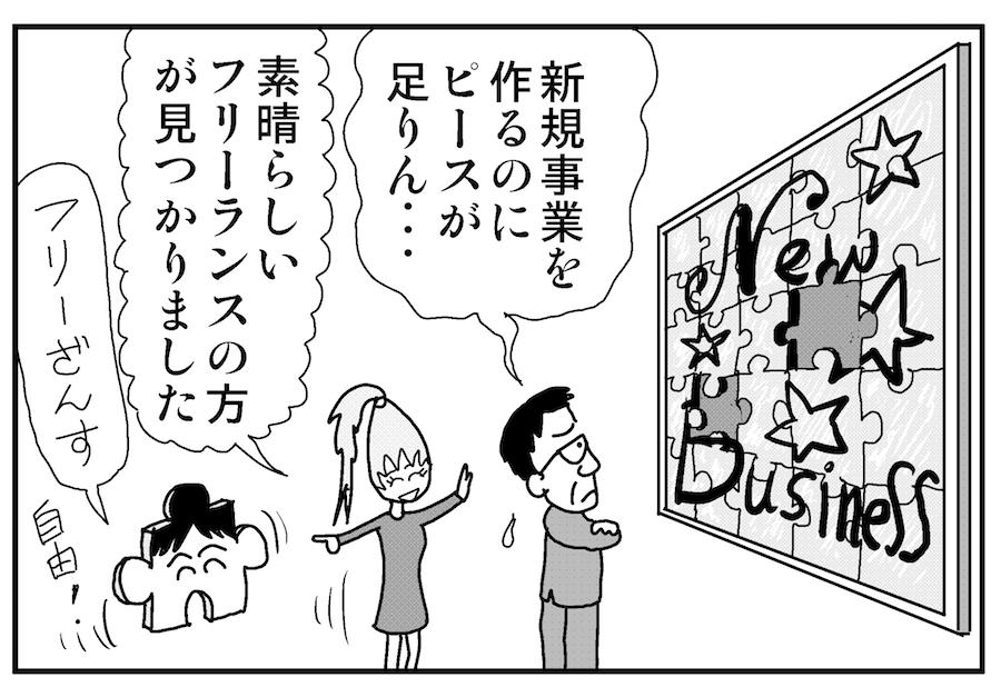【連載/4コマ漫画コラム(64)】 OI/新規事業におけるフリーランスや副業者の活用術
