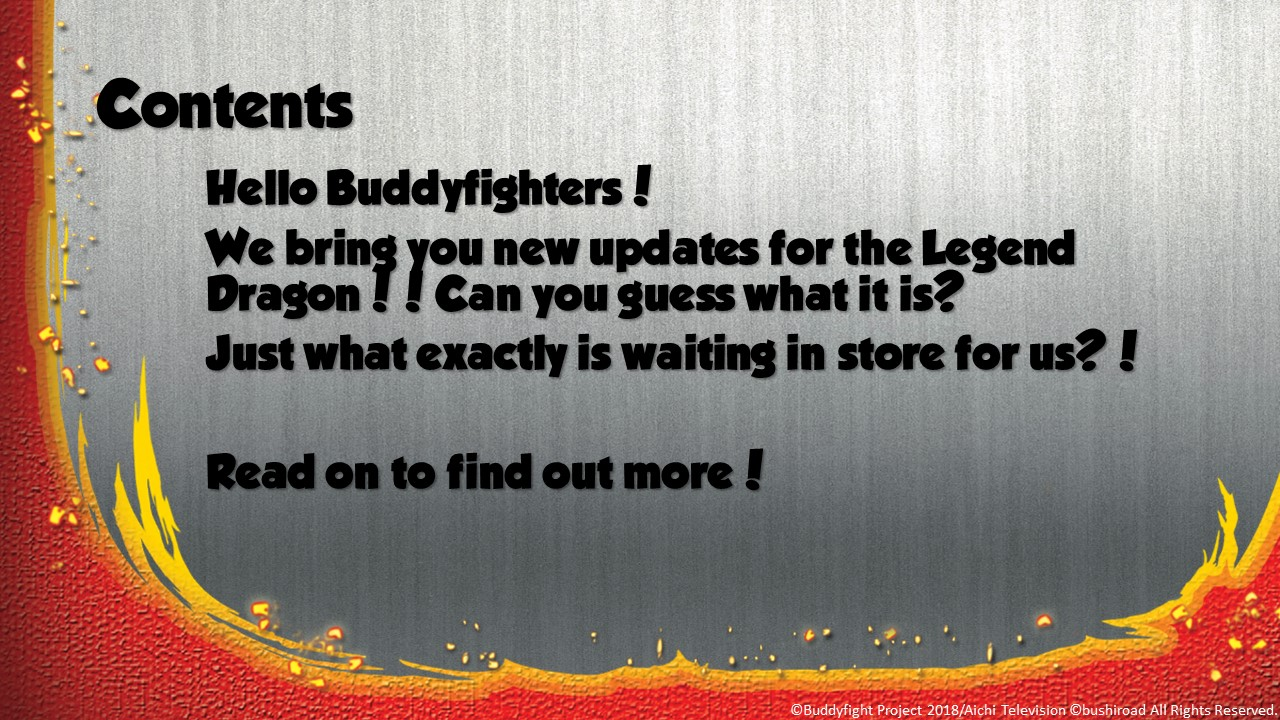 Buddyfight news Aug Issue Contents