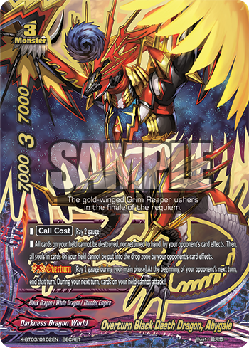 Future Card Buddyfight Card Overturn Black Death Dragon, Abygale