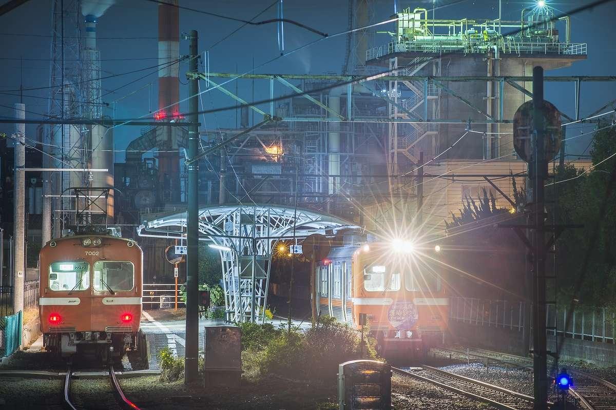 岳南電車、富士市、工場夜景