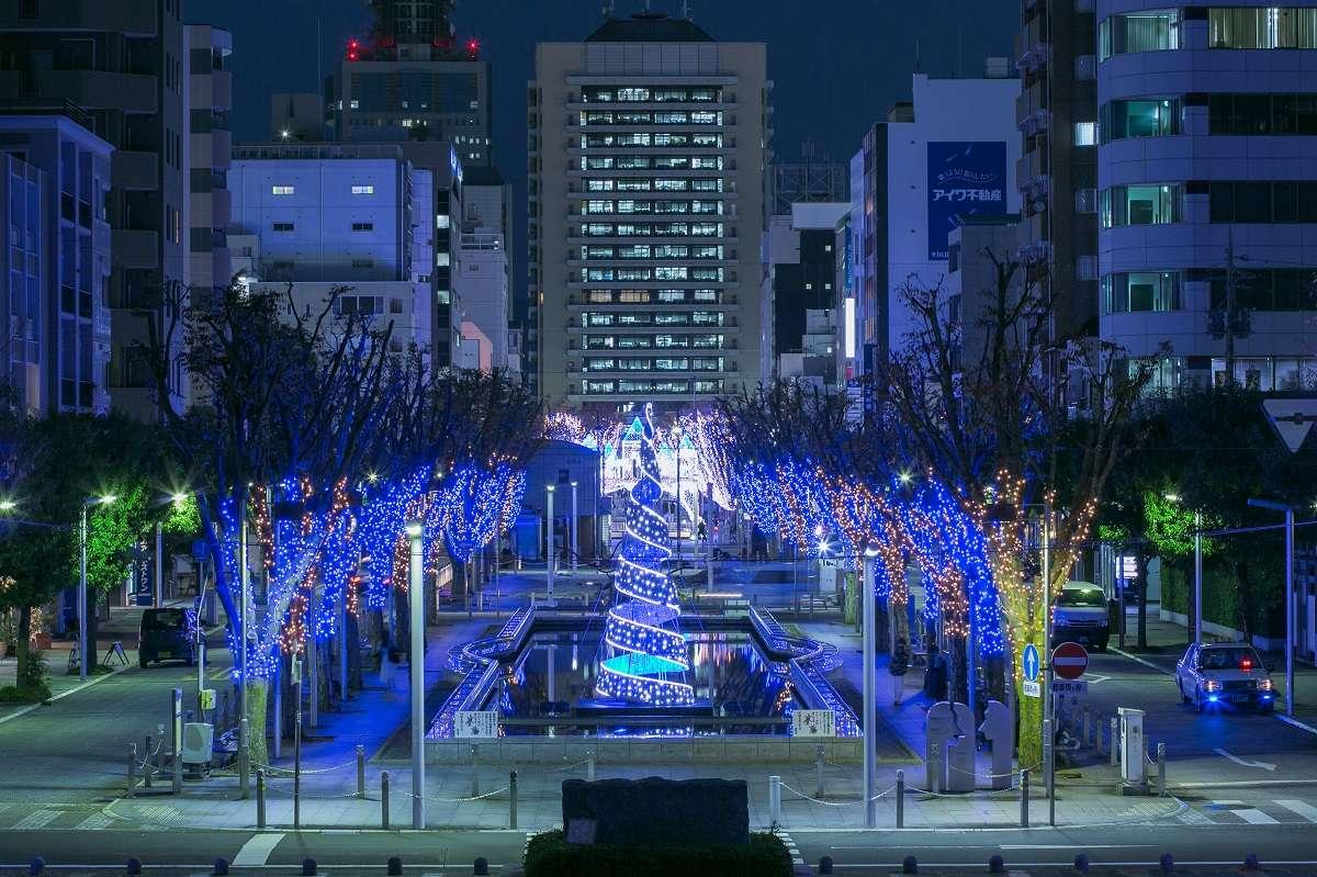 イルミネーション、静岡市、青葉通り