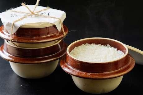 「釜飯特選弁当 すこやか」の「釜炊き金賞米(1合炊き)」の画像