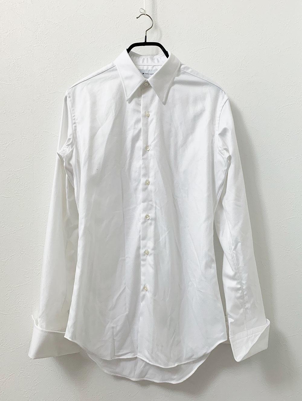 国産のなめらかコットン形態安定加工ホワイトフランス綾シャツ 洗濯後