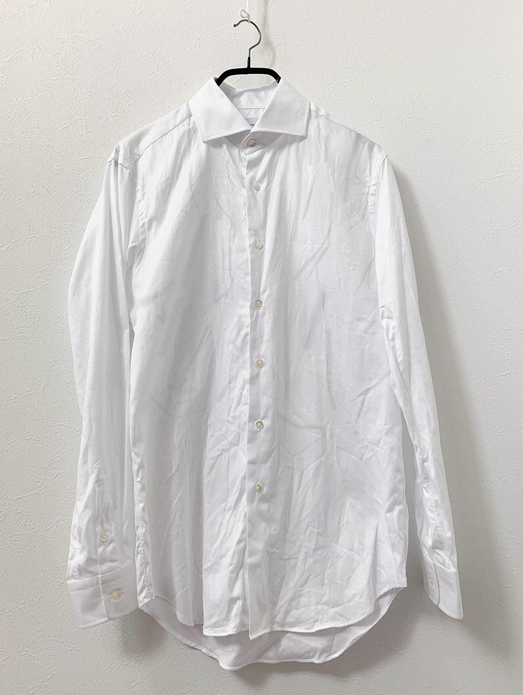 国産のしなやかコットンホワイトダイアゴナルシャツ 洗濯後