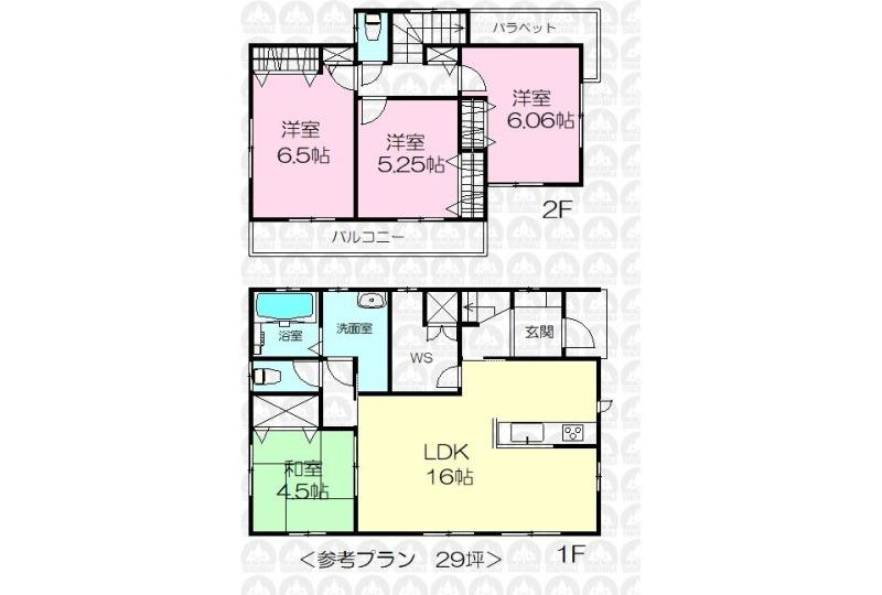 【間取】建物プラン例:建物価格1595万円、建物面積95.84m2