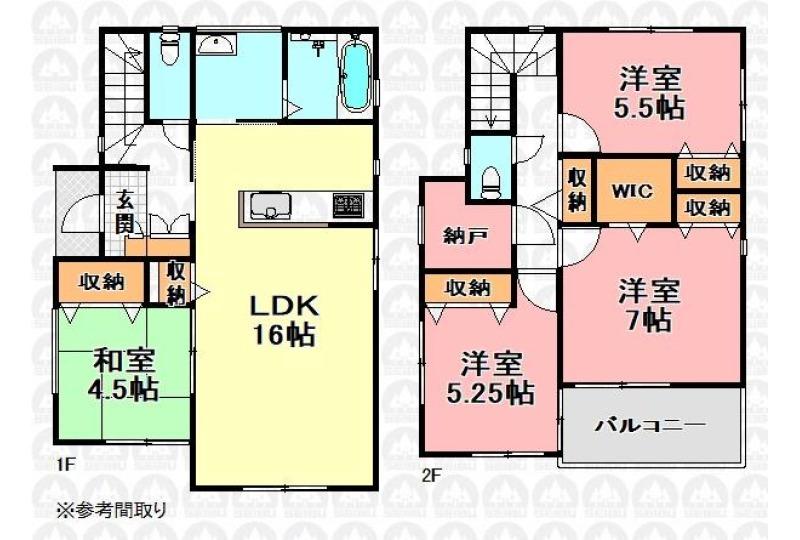 【間取】建物価格1595万円、建物面積95.83m2