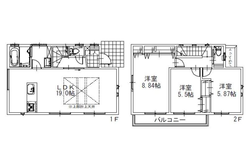 【間取】3LDK+カースペース2台 全室南向き、約19帖のLDK!
