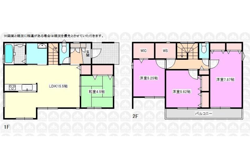 【間取】参考間取り 建物価格1595万円、建物面積95.84m2