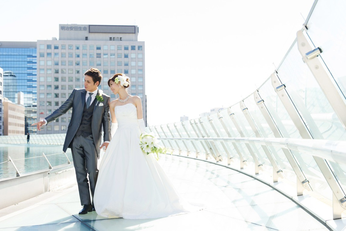 Walking around the Oasis 21 in Nagoya — Photo by Nagoya Weddings