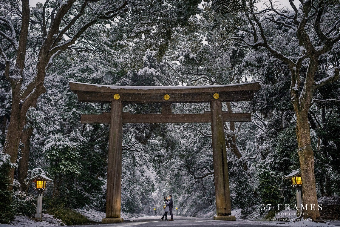 Snowy shot at the famous Meiji Shrine — Photo by 37framesphotography