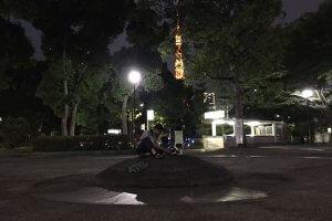 バックに東京タワー