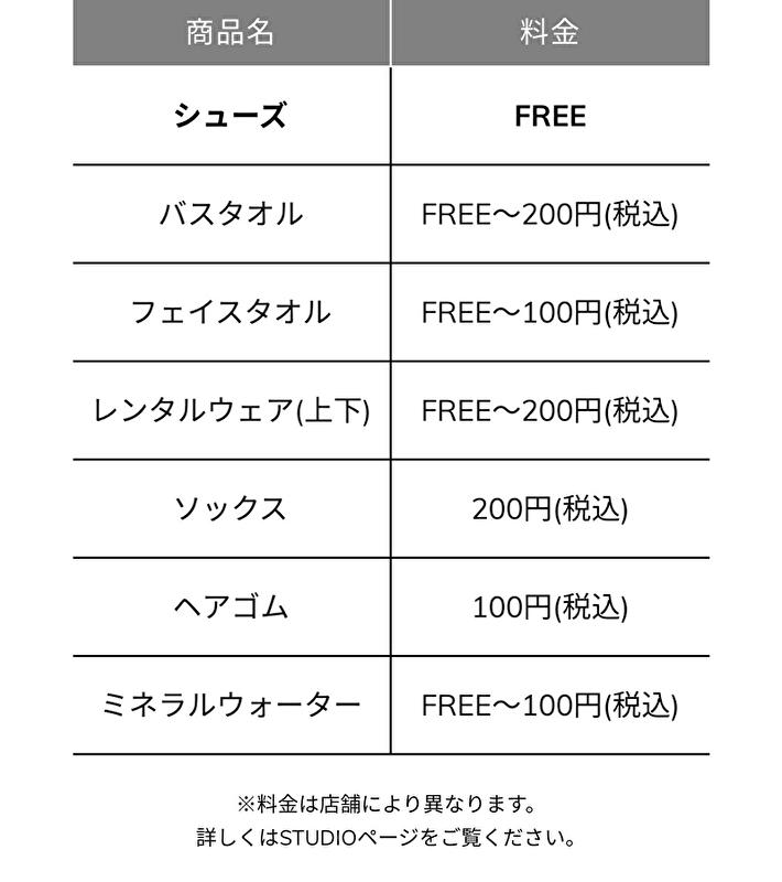 レンタル表