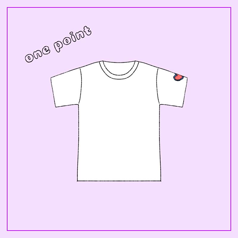 袖にワンポイントTシャツ