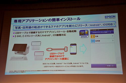 USBケーブルでスマートフォンと接続