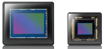 左が1.0型CMOSイメージセンサ、右が1/2.3型CMOSイメージセンサ