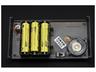完成した本体裏側。電源は単3乾電池3本。キットの箱に張られていた「対象年齢10歳以上」のシールを貼ってみた