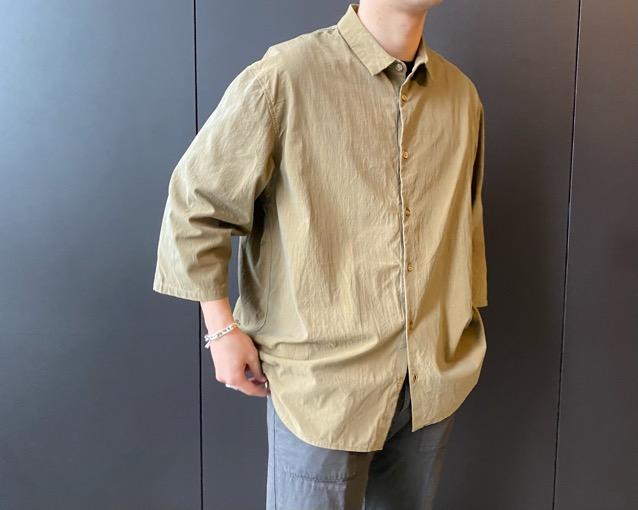ギャバのカフスレスシャツ