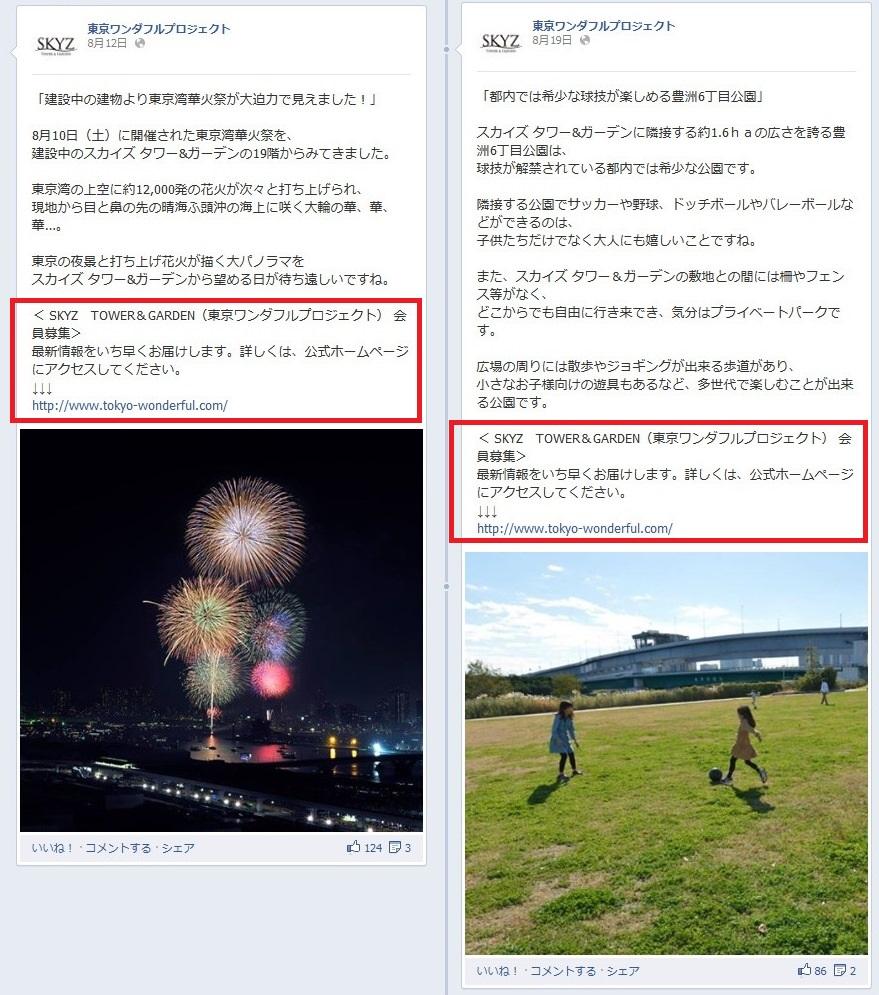 Facebookページ 事例 東京ワンダフルプロジェクト URL