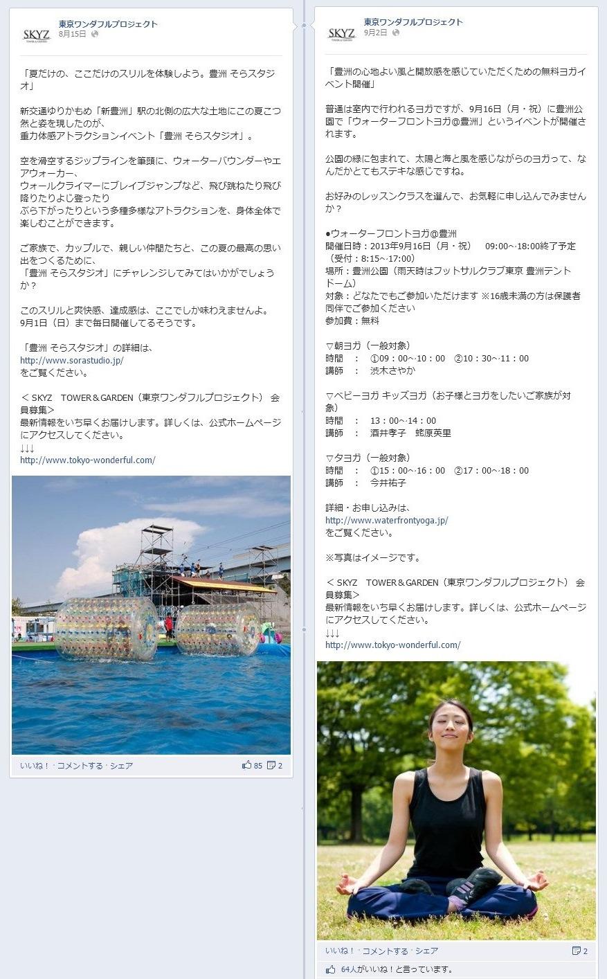 Facebookページ 事例 東京ワンダフルプロジェクト イベント
