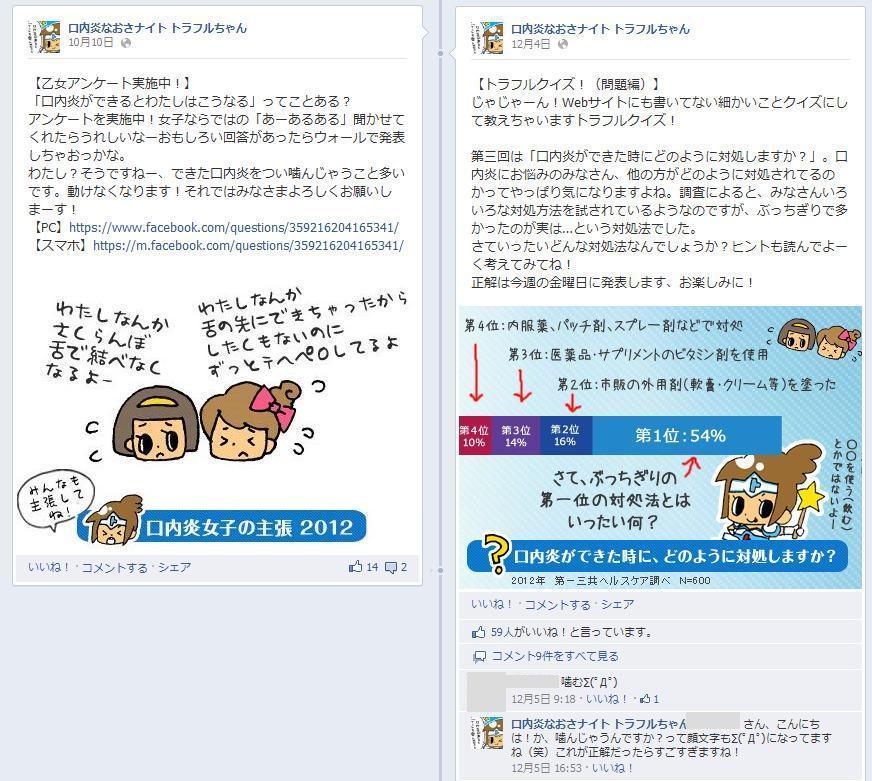 Facebook 事例 口内炎なおさナイト トラフルちゃん クイズアンケート