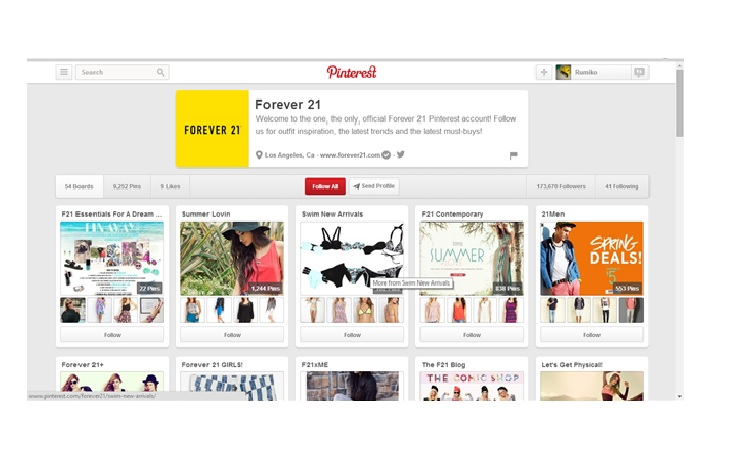 Forever 21,インタラクティブ,ソーシャルメディア,Instagram,Pinterest,