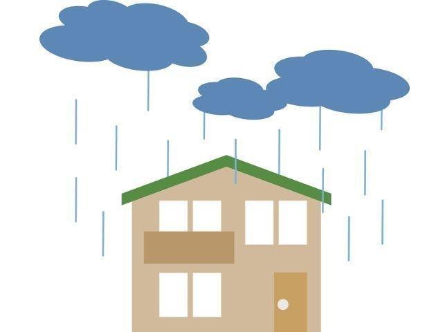 家と雨が降っているイラスト