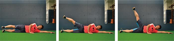 横向きから片足を上げる動き