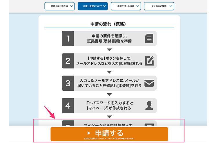 持続化給付金 申請画面と申請ボタン
