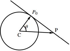 円の接線のベクトル方程式の図その1