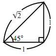 $45^\circ$ の直角三角形