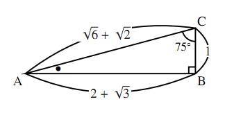 $15^\circ$、$75^\circ$、$90^\circ$ の三角形