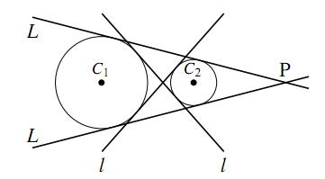 2円の共通接線の図