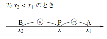 数直線上の内分点の座標の図その2