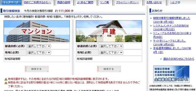 都道府県と地域からサイト相場を調べる方法