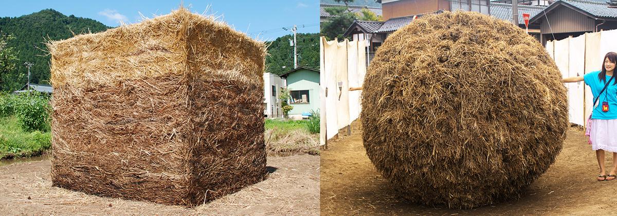 他にも「農業とアート」では、このような藁や草のオブジェが出現したりしています