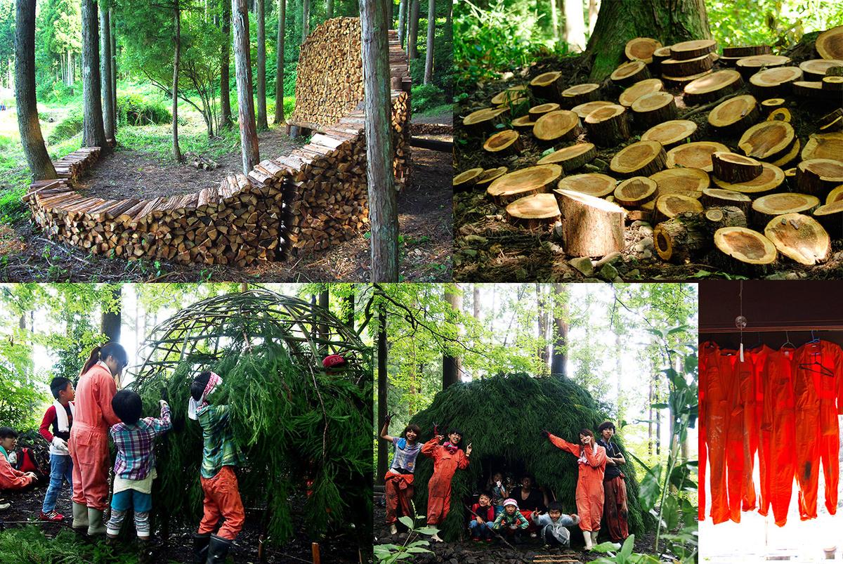 その他にも、薪をアートにしたり、切株をアートにしたり、子どもたちと杉葉で鎌倉を作ったり。作業着でアートしました。今まで市民にはなかった発想で、一気に森に活気が!