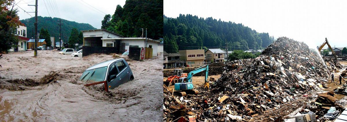 当時の様子。河和田では住宅が流され、行方不明になった方も…