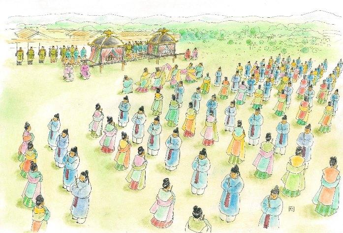 由義宮で行われた歌垣のイメージ 画:早川和子氏