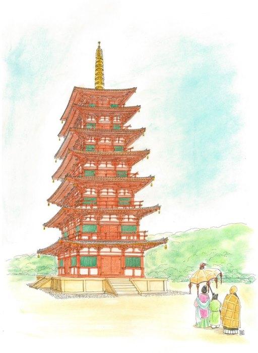 早川和子氏が描いた幻の七重塔(由義寺の塔のイメージ)