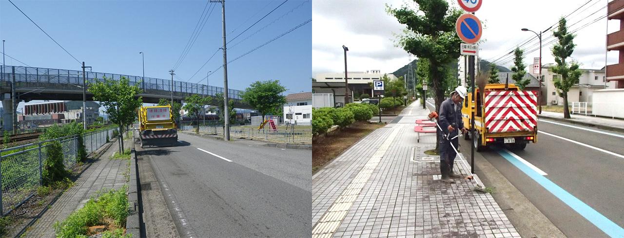 ↑左:スイーパー車による道路清掃、右:定期的に実施している除草作業