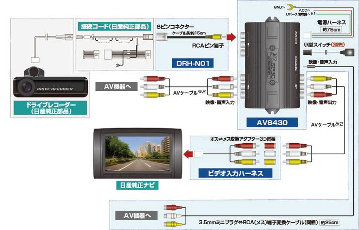 データシステムドライブレコーダー変換ハーネス