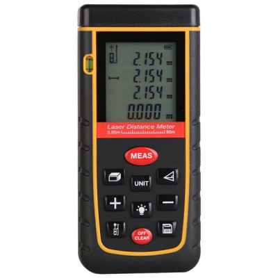 80M LCD Display Laser Distance Meter Digital Range Finder Laser Tape Measure with Bubble Level